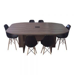 Conjunto Mesa de Reunião Semi Oval com 6 Cadeiras Design – Maranello Linha UP Glass