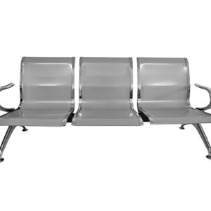 """Cadeira Longarina 3 Lugares ,Base fixa em formato de """"Y"""" em aço cromado com quatro sapatas reguláveis. Encosto com estrutura em aço perfurado. Braço em aço cromado com formato anatômico"""