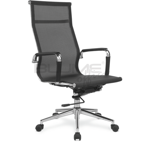 Cadeira presidente BLM 01P com encosto e assento revestidos em tecido telado de nylon, braços cromados com forração removível por meio de zíper, mecanismo relax com trava e base giratória cromada 320 mm com rodízios em PU.