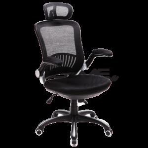 Cadeira Presidente BLM 900 P, Com encosto em tecido telado acrílico e encosto de cabeça com regulagem de altura. Assento em poliéster com espuma injetada, braços articuláveis em nylon. Mecanismo A-syncron* com travaem múltiplas posições, aranha 350mm de nylon preta, pistão com capa em nylon e rodízios de PU.