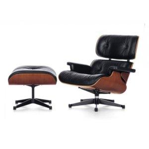 Poltrona Design Charles Eames PEL-901 com Apoio p/ Pés Couro Pu e Madeira – Pelegrin
