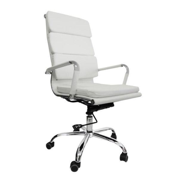 """Com design moderno a """"Cadeira Presidente Design Charles Eames em Couro PU Branca Pelegrin PEL-7089H3"""" é a escolha perfeita para quem busca qualidade e sofisticação."""