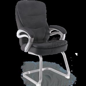 Cadeira interlocutor Estofado Duplo ,Cadeira de reunião com encosto e assento revestidos em courino com espuma injetada no assento, espuma com densidade controlada no encosto e sobrecapa em soft revestida em suede.