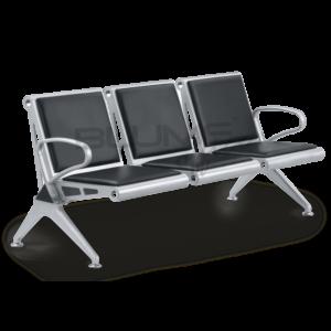 Cadeira longarina BLM para três lugares com encosto e assento em aço reforçado com pintura epóxi prata. Braços e pés em alumínio com pintura epóxi prata. Esta cadeira longarina têm barra de sustentação em aço reforçado com pintura epóxi cinza. Esta cadeira longarina tem braço intermediário opcional.