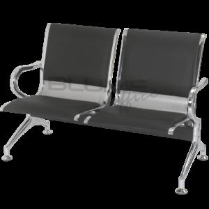 Cadeira longarina BLM dois lugares com assento e encosto em concha única de aço com pintura epóxi cinza ou preto e acabamentos laterais cromados.