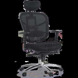 Cadeira presidente BLM adaptável aos diferentes biotipos, com encosto em tecido telado de poliéster e assento revestido em tecido telado spacer com espuma semi-injetada, mecanismo A-Syncron*, chassis duplo em aço tubular cromado, pistão cromado, aranha 350 mm em alumínio e rodízios de PU.