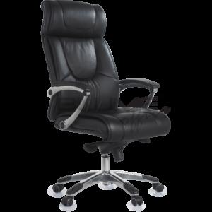 Cadeira presidente BLM para escritórios de alto padrão, com encosto e assento em couro natural na parte frontal e laterais e costas em courino.