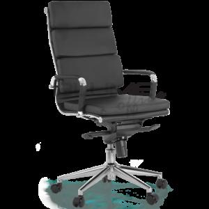 Cadeira presidente BLM 08 para escritórios de alto padrão. Esta cadeira tem encosto e assento revestidos em courino dublado com espuma de densidade controlada nas almofadas, base aço cromado giratório.