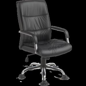 Cadeira BLM presidente para escritórios de diretores e presidentes de empresa com encosto e assento revestidos em courino com espuma injetada e sobrecapa em soft. Os braços desta cadeira são fixos cromados com apoio estofado.