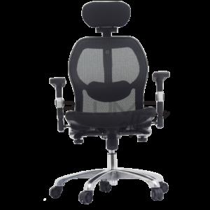 Cadeira presidente especialmente projetada para escritórios de alto padrão destinados a presidentes e diretores. Esta cadeira possui o conforto do apoio de cabeça com três regulagens: altura, inclinação e rotação para melhor ergonomia.