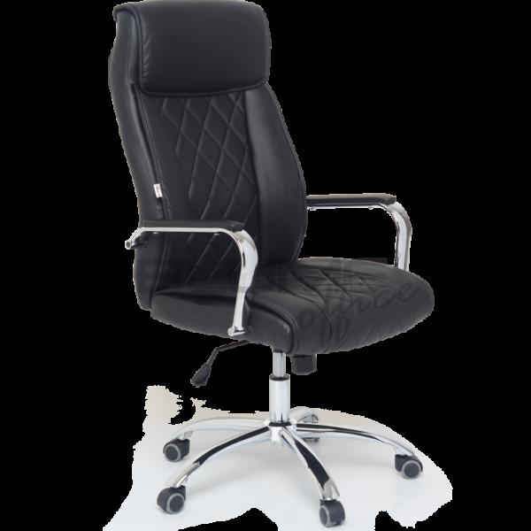 Cadeira presidente com encosto e assento revestidos em courino com espuma injetada no assento, espuma com densidade controlada no encosto e sobrecapa em soft.