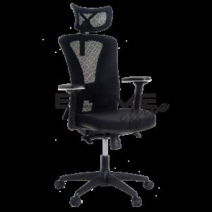 Cadeira presidente com apoio de cabeça com regulagem de altura e rotação. Cadeira com encosto em tela de Nylon com poliéster e tensor de lombar com regulagem. Assento em tecido poliéster com espuma de densidade controlada, regulagem horizontal e carenagem.