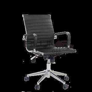Cadeira diretor BLM. Esta cadeira tem encosto e assento revestidos em courino dublado com reforço interno em lona Braço cromado com forração removível (zíper). O mecanismo desta cadeira diretor é do tipo relax com trava.