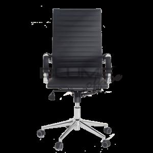 Cadeira presidente BLM. Esta cadeira tem encosto e assento revestidos em courino dublado com reforço interno em lona e comporta até 110kg. Os braços desta cadeira são cromados com forração removível.