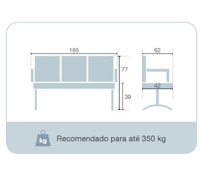 Cadeira Longarina com 3 Lugares BLM B03 – Blume Office