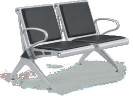 Cadeira longarina BLM dois lugares com encosto e assento em aço reforçado com pintura epóxi prata. Braços e pés em alumínio com pintura epóxi prata. Esta cadeira tem braço intermediário opcional, estofamento em courino (opcional) e sapatas reguláveis.