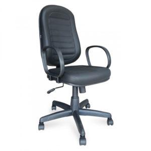 Cadeira Presidente Giratória com opção de braço corsa. Sua base é em aço com capa de propileno. Revestimento em couro ecológico ou tecido.