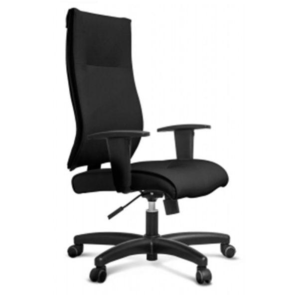 Sua base é em aço com capa de propileno.Revestimento em couro ecológico ou tecido.Essa cadeira é modelo presidente com um ótimo custo x benefício.Possui sistema relax, para maior conforto do usuário.