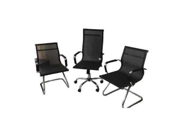 Combo Cadeiras Presidente BLM 01 Cadeira de Aproximação BLM 02 F ,com encosto e assento revestidos em tela de nylon . 2 Cadeiras de aproximação para reuniões em escritórios com encosto e assento revestidos em tela de nylon.