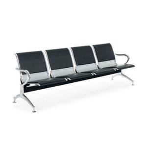 Longarina Aeroporto c/ 04 lugares Aço ,Cadeira Longarina Diretor em Aço Modelo: Aeroporto em Aço Garantia: 2 Anos Braços: C/ braços laterais cromados Encosto/Assento: Todo em Aço