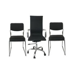 Combo Cadeira Presidente BLM03 Cadeira Fixa Roal, cadeira presidente tem encosto e assento revestidos em courino dublado, 2 Cadeiras Fixa Roal, cromada no couro ecológico.