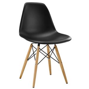 Cadeira Eames , com base em madeira com design eiffel e encosto médio Base fixa com quatro pés em madeira eucalipto e reforço metálico Encosto e assento com estrutura em ABS