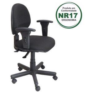 Cadeira para Escritório Back System, a cadeira perfeita para seu call center. Possui regulagem de encosto, de braço e de altura.