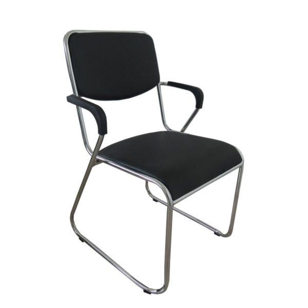 Estrutura: Tubos de Metal com acabamento cromado. Assento e encosto: Polipropileno estofada e revestido em couro PU
