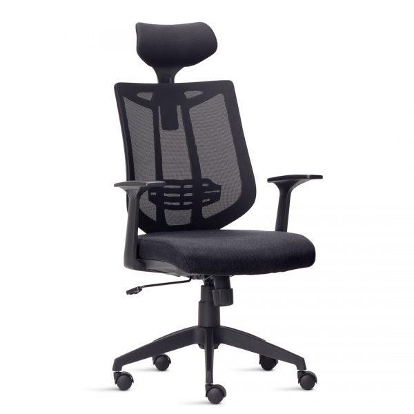 Cadeira Presidente Aika, demonstra modernidade e linhas arrojadas sob qualquer ângulo. A construção de seu encosto em tela é moderna e o apoio lombar proporciona mais ergonomia e conforto para o usuário.
