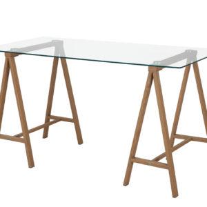 Mesa de Vidro Cavalete ,Mesa de vidro cavalete. tampo de vidro temperado 8mm com pés de metal com acabamento que imita madeira.