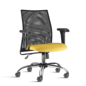 Cadeira Presidente Liss,possui encosto em tela flexível, extremamente adaptável sobre quadro metálico. O conforto não para por aí, pois Liss conta com mecanismo de reclinação oscilante.