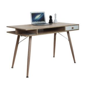 Mesa Escrivaninha em Madeira ,Mesa escrivaninha. Mesa em madeira com espaços vazados e gaveta com puxador. Pés palito em madeira.