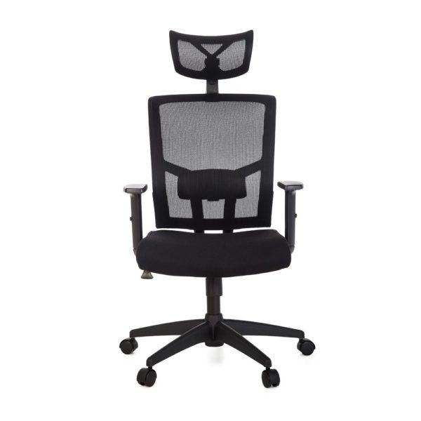 Cadeira Presidente Anima . Apoio de cabeça com regulagem de altura e rotação e detalhe em alumínio Encosto em tela de poliéster e tensor de lombar com regulagem Assento em tecido poliéster com espuma laminada