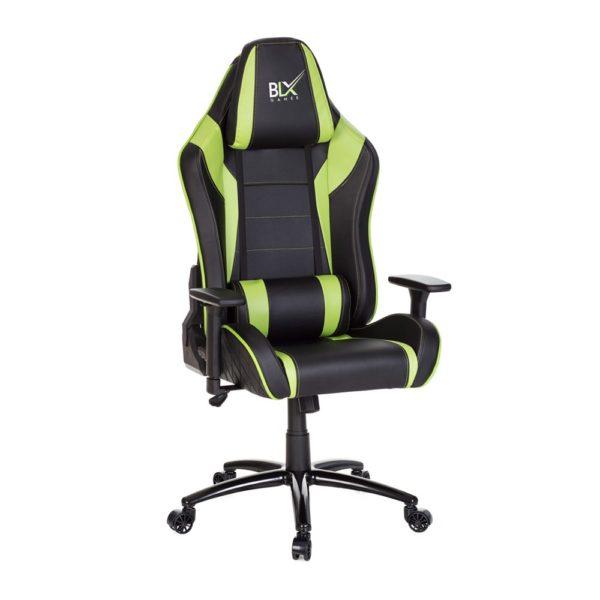 Cadeira Gamer 7211 Apoio de cabeça e lombar removível com almofada estofada encosto em courino com espuma injetada, inclinação de até 180 graus e costura matelassê assento em courino com espuma injetada e costura matelassê braço com regulagem de altura, 3D e apoio em nylon