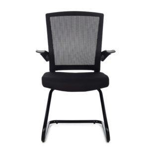 Cadeira Secretaria Anima, Encosto em tela de poliéster, assento em tecido poliéster com espuma laminada , braço articulável em pp , base ski diretor preta