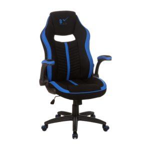Cadeira Gamer 6001 estofada revestida em tecido de poliéster• apoio de cabeça com bordado personalizado blx• encosto estofado anatômico com recortes em cor contrastante e costura em gomos