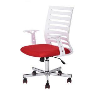 Cadeira Diretor PEL-BF57 Branca e Vermelha