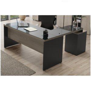 """Mesa p/ Escritório em """"L"""" com Auxiliar Pedestal 3 Gavetas – Maranello Linha M40 Glass"""