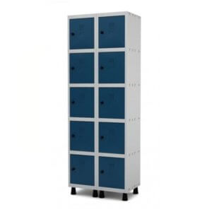 Roupeiro de Aço 10 Portas Pequenas lisas Na cor Azul