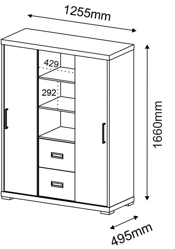 Armário Alto com 2 Portas e Nicho com 2 Gavetas – Artany