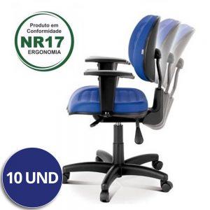 Combo Cadeira Executiva Back System Costurada c/ Braços Reguláveis – VTR